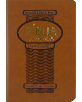 Bíblia Sagrada | RA | Letra Grande | Pequena | Emborrachada | Marrom Claro
