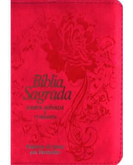 Bíblia Sagrada | Harpa Avivada e Corinhos | Palavras de Jesus em Vermelho | Rosa Pink