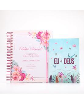 Kit Bíblia Sagrada RC Harpa e Corinhos Capa Dura Floral Buquê + Eu e Deus Jardim Secreto | Luz Para o Caminho