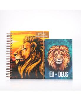 Kit Bíblia Sagrada RC Harpa e Corinhos Capa Dura Leão Paisagem + Eu e Deus Leão Aslam | Luz Para o Caminho