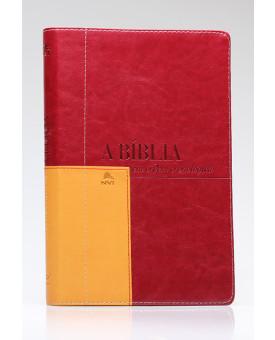 Bíblia em Ordem Cronológica | NVI | Letra Normal | Luxo | Vermelha | Mostarda