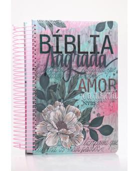 Bíblia Sagrada Anote | NVI | Letra Normal | Capa Dura | Espiral | Flor Artística