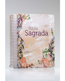 Bíblia Sagrada Anote Plus | RC | Letra Grande | Capa Dura | Espiral | Flor Marmorizada