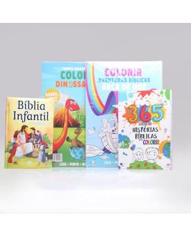 Kit Bíblia Infantil Letra Grande + Tapete Para Colorir + 365 Histórias Para Colorir | Aprendendo Sobre a Bíblia