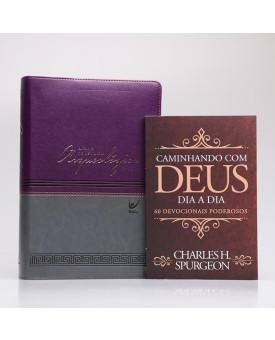 Kit Bíblia de Estudo Arqueológica | NVI | Vinho e Cinza + Devocional Spurgeon Clássica | Homem Sábio