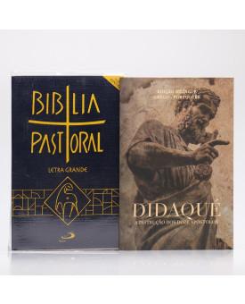 Kit Nova Bíblia Pastoral Letra Grande Edição Especial Azul + Didaqué | Vivenciando a Fé