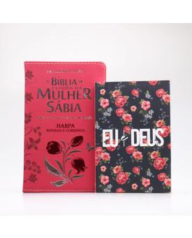 Kit Bíblia de Estudo da Mulher Sábia RC Harpa Letra Grande Vermelha + Eu e Deus Rosas | Cheias de Sabedoria