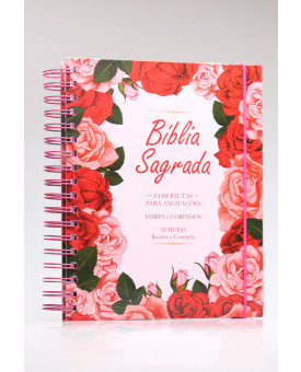 Bíblia Sagrada | RC | Harpa e Corinhos | Letra Normal | Capa Dura | Floral Rosa | Espiral