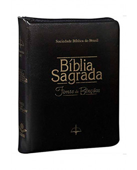 Bíblia Sagrada | Fonte de Bênçãos | RC | Letra Normal | Capa Sintética | Índice | Zíper | Preta