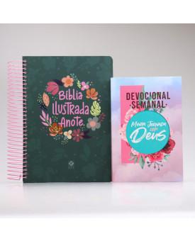 Kit Bíblia Anote Ilustrada Cores e Flores + Grátis Devocional Semanal Minha Jornada com Deus | Mulher de Fé Ilustrada