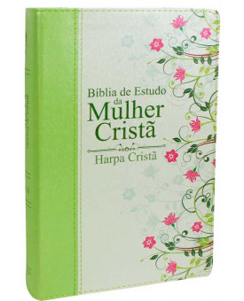 Bíblia de Estudo da Mulher Cristã | RC | Harpa Cristã | Letra Normal | Capa Sintética | Verde