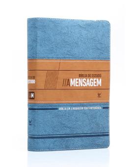 Bíblia de Estudo A Mensagem | Letra Normal | Luxo | Azul e Bege