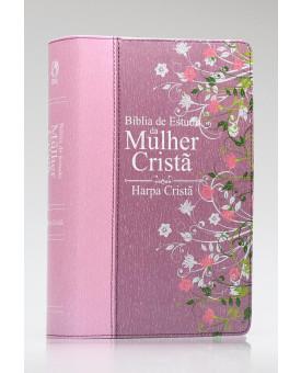 Bíblia de Estudo da Mulher Cristã | RC | Harpa Cristã | Letra Normal | Capa Sintética | Pink