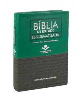 Bíblia de Estudo Esquematizada | RA | Letra Normal | Emborrachada | Verde e Preta