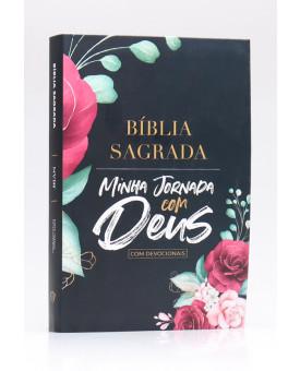 Bíblia Sagrada Minha Jornada com Deus Com Devocionais | NVI | Letra Normal | Semi-flexível | Floral