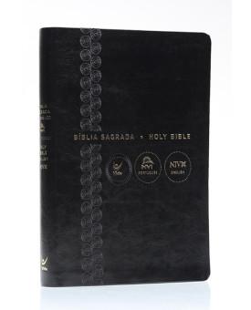 Bíblia Sagrada | NVI | Português e Inglês | Capa Sintética | Preta