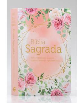 Bíblia Sagrada Com Dicionário e Concordância | RC | Letra Gigante | Luxo | Rosas