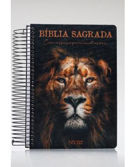 Bíblia Sagrada Anote | NVI | Letra Média | Capa Dura | Espiral | Leão de Judá