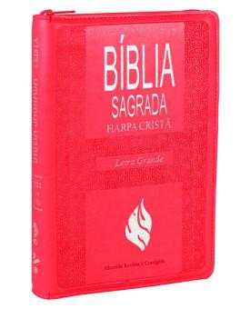 Bíblia Sagrada | RC | Harpa Cristã | Letra Grande | Couro Sintético | Zíper | Rosa Escuro