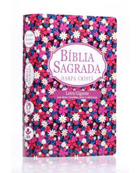 Bíblia Sagrada | RC | Harpa Cristã | Letra Gigante | Capa Dura | Flor