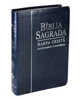 Bíblia Sagrada | RC | Harpa Cristã | Letras Vermelhas | Couro Sintético | Azul