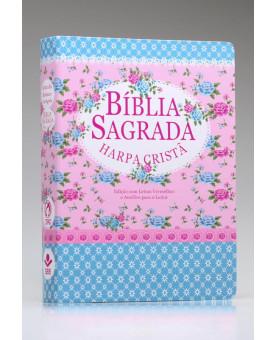 Bíblia Sagrada | RC | Harpa Cristã | Letra Gigante | Capa Semi-Flexível | Florida azul