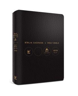 Bíblia Sagrada Holy Bible | Português e Inglês | NVI | Letra Normal | Sintética | Preto