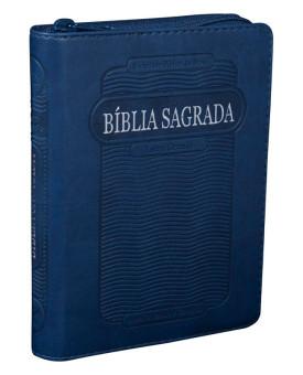 Bíblia Sagrada | RC | Letra Grande | Flexível PU | Zíper | Azul