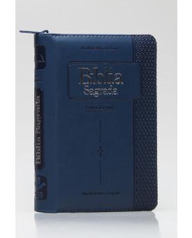 Bíblia Sagrada | RC | Letra Grande | Capa Pu | Azul | índice | Zíper