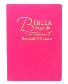 Bíblia Sagrada | RC | Comentário do Missionário R.R. Soares | Rosa | Luxo