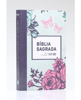 Bíblia Sagrada | NVI | Letra Normal | Semi - Luxo | Lilás Floral