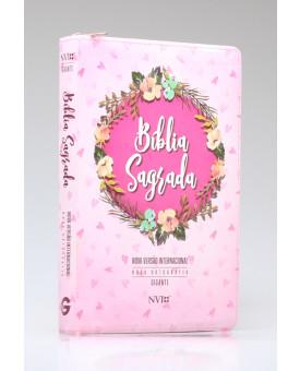 Bíblia Sagrada | NVI | Letra Gigante | Luxo | Zíper | Estampada Rosa