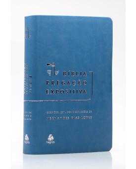 Bíblia Pregação Expositiva | RA | Letra Normal | Luxo | Azul Petróleo