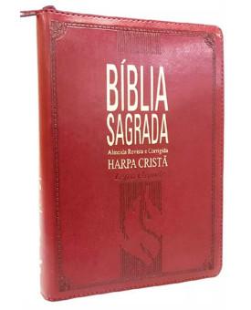 Bíblia Sagrada | RC | Harpa Cristã | Letra Grande | Luxo | Índice | Vinho | Zíper