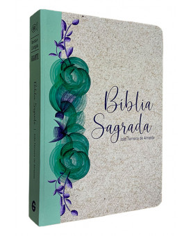 Bíblia Sagrada | RC | Letra Gigante | Semi - Luxo | Reciclato Floral Verde