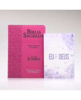 Kit Bíblia RC Harpa Letra Jumbo Ramos Pink + Eu e Deus Lilás | Mulher de Fé