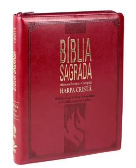Bíblia Sagrada | RC | Harpa Cristã | Letra Extragigante | Capa Sintética | Vinho | índice | Zíper