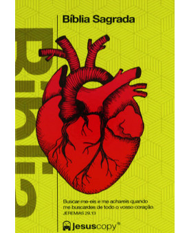 Bíblia Sagrada | NAA | Letra Normal | Capa Dura | Jesus Copy | Coração | Amarela
