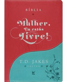 Bíblia Mulher, Tu estás Livre! | Almeida Contemporânea | Luxo | Turquesa/Vermelha