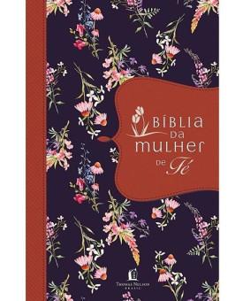 Bíblia de Estudo da Mulher de Fé | NVI | Letra Normal | Tecido | Flores