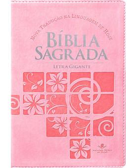 Bíblia Sagrada | NTLH | Letra Gigante | Luxo | Rosa Flores