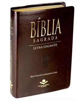 Bíblia Sagrada | NTLH | Letra Gigante | Luxo | Marrom | Índice