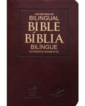 Bíblia Bilíngue | NTLH | Português/Inglês | Capa Marrom Nobre