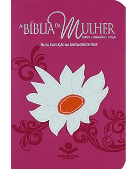 Bíblia da Mulher NTLH Média Rosa Emborrachada Margarida Costurada com Índice