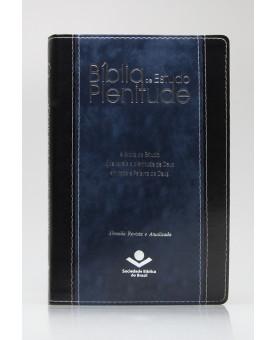 Bíblia de Estudo Plenitude   RA   Letra Normal   Capa Sintética   Preta/Azul   Índice