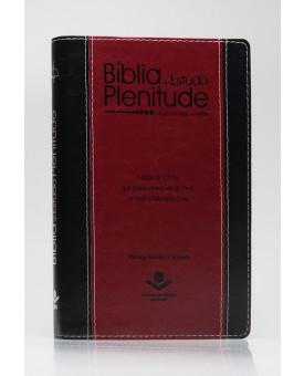 Bíblia de Estudo Plenitude | RC | Letra Normal | Capa Sintética | Preta e Vinho | Índice
