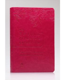 Bíblia Pregação Expositiva   RA   Letra Normal   Luxo   Rosa Flores