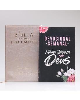 Kit Bíblia da Joyce Meyer Dourada + Grátis Devocional Semanal Flores Cruz | Mulher de Fé