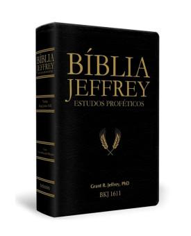 Bíblia Jeffrey Estudos Proféticos | King James | Letra Média | Luxo | Preta e Dourado