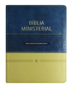 Bíblia de Estudo Ministerial | NVI | Letra Normal | Luxo | Azul e Bege
